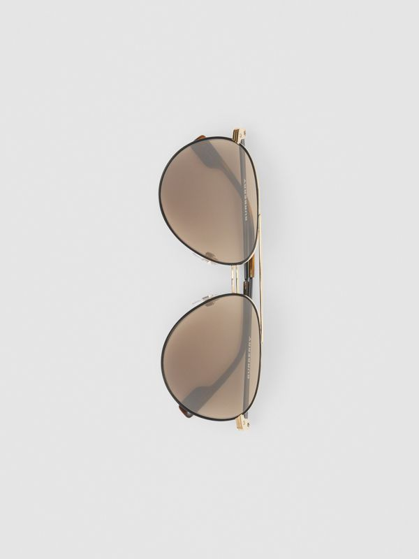 Top Bar Detail Pilot Sunglasses in Tortoiseshell - Men | Burberry United Kingdom - cell image 3