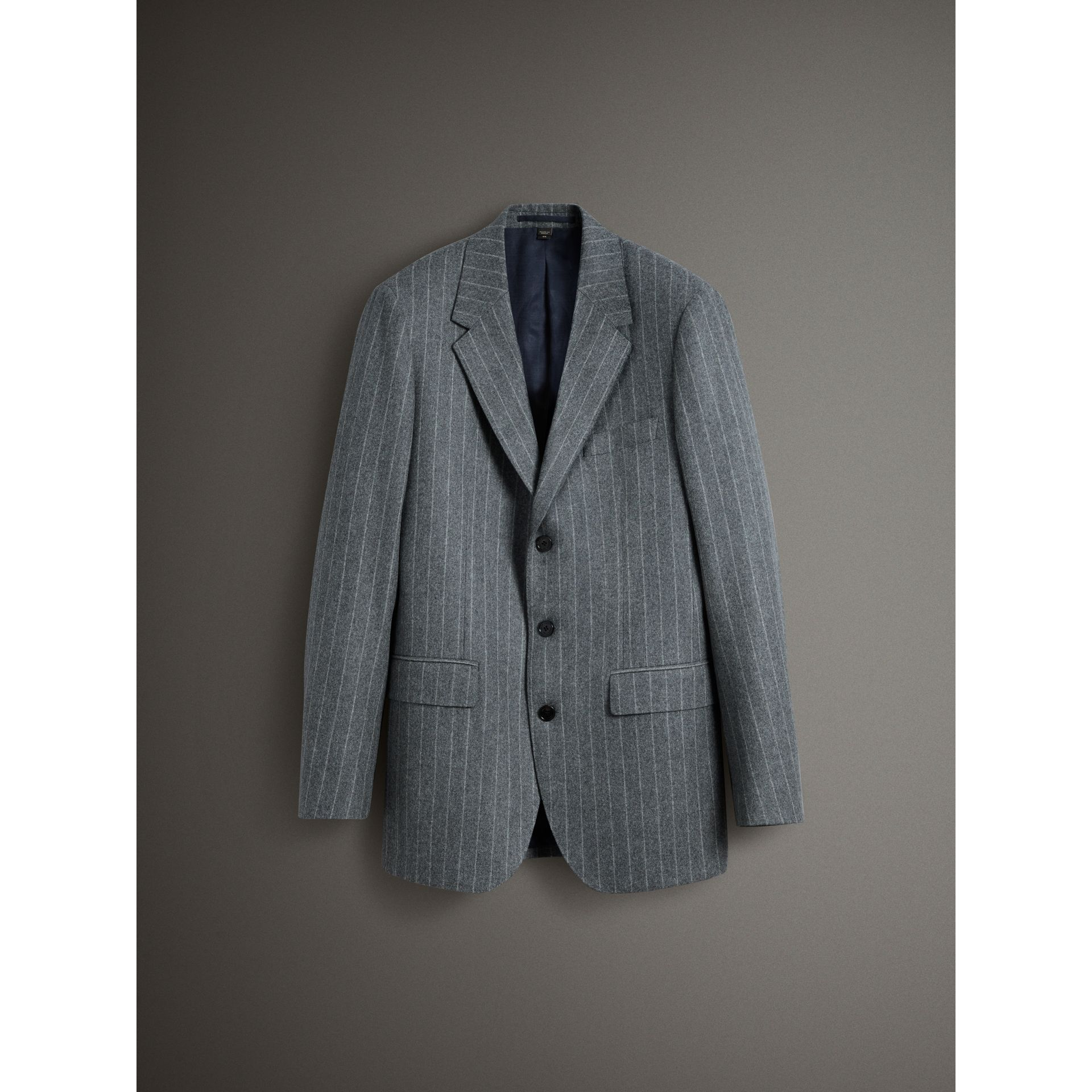 English Pinstripe Wool Flannel Tailored Jacket in Mid Grey - Men | Burberry United Kingdom - gallery image 3