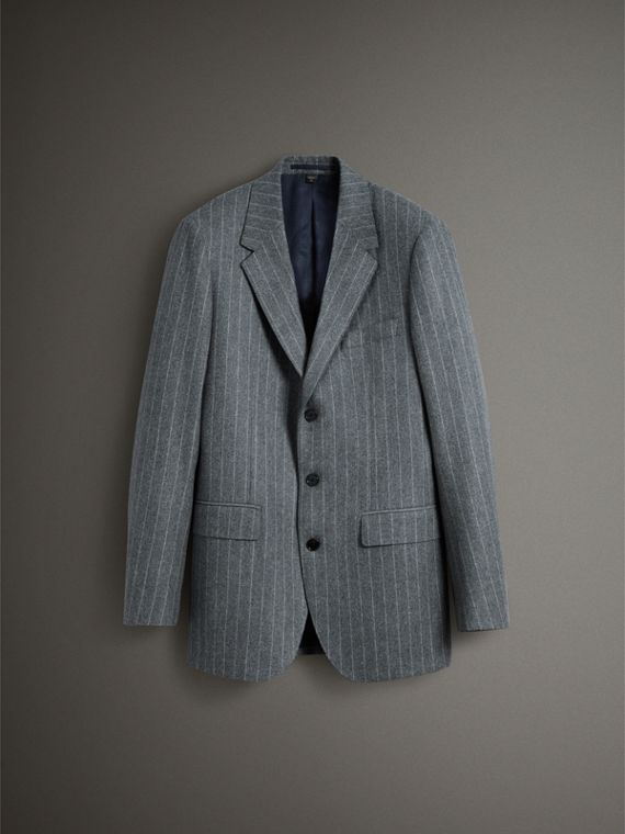 English Pinstripe Wool Flannel Tailored Jacket in Mid Grey - Men | Burberry - cell image 3