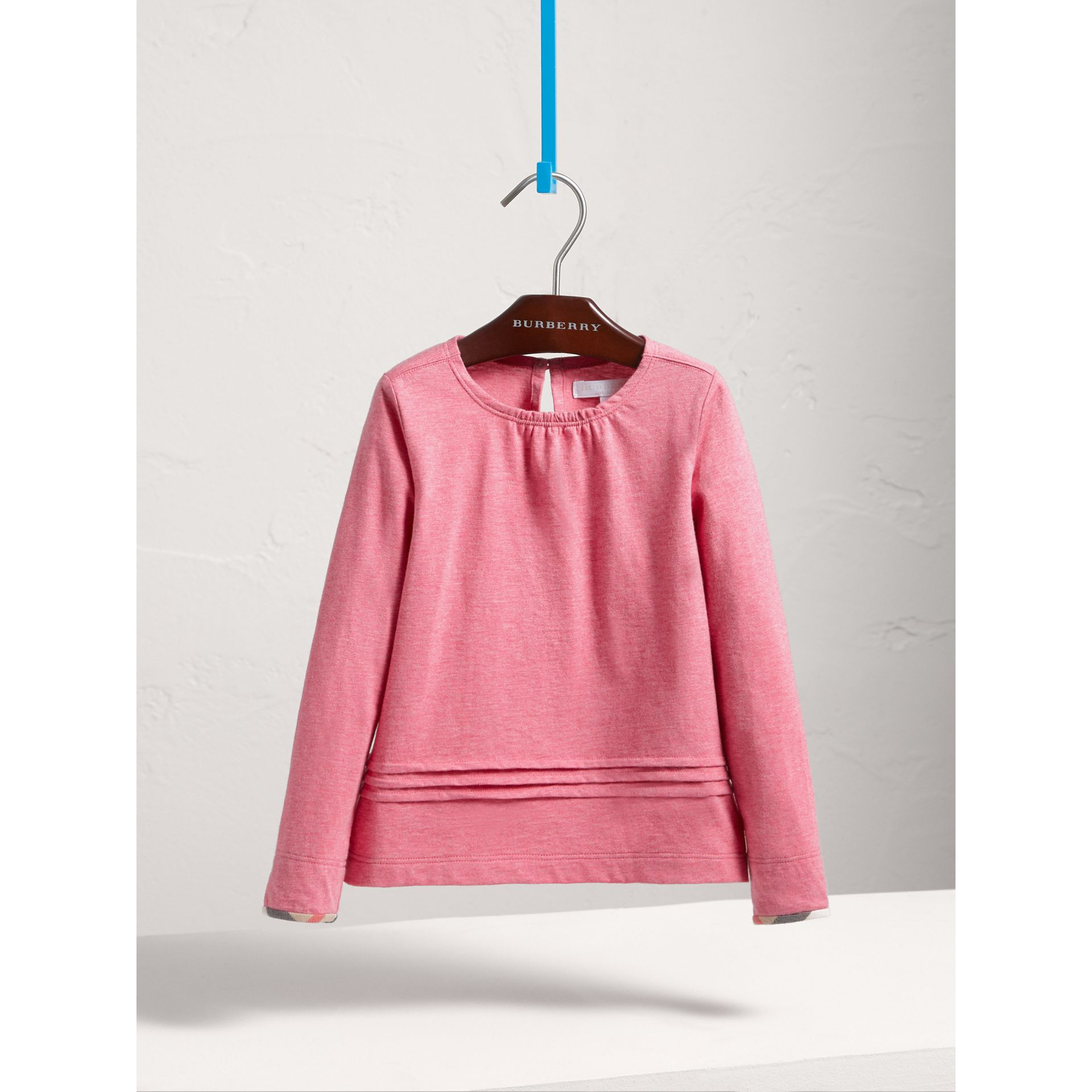 Long-sleeve Pleat and Check Detail Cotton T-shirt in Plum Pink Melange - Girl | Burberry - gallery image 2