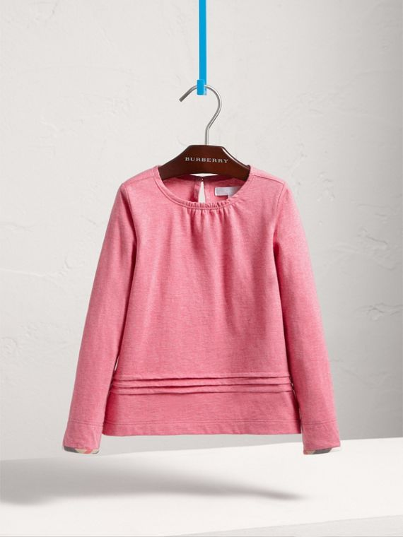 Long-sleeve Pleat and Check Detail Cotton T-shirt in Plum Pink Melange - Girl | Burberry Canada - cell image 2