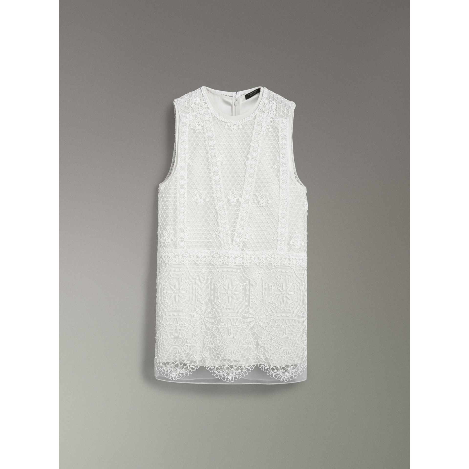 Silicone Lace Mini Dress in White - Women | Burberry - gallery image 3