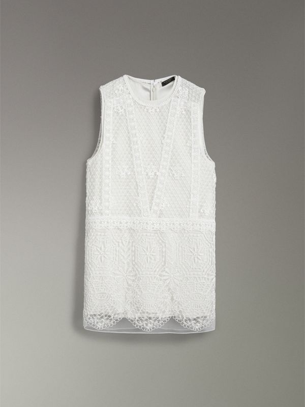 Silicone Lace Mini Dress in White - Women | Burberry - cell image 3