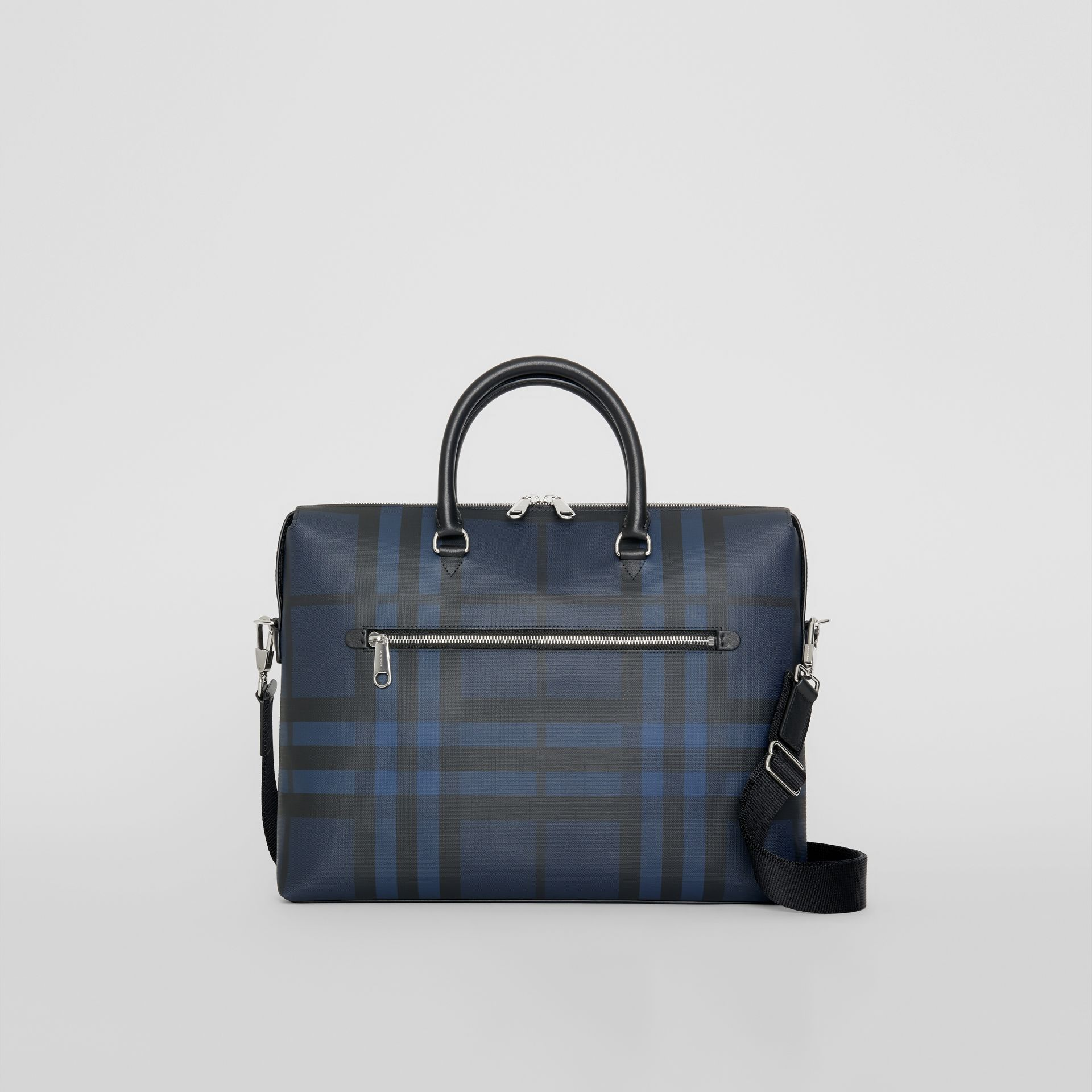 London Check and Leather Briefcase in Navy/black - Men | Burberry Singapore - gallery image 0