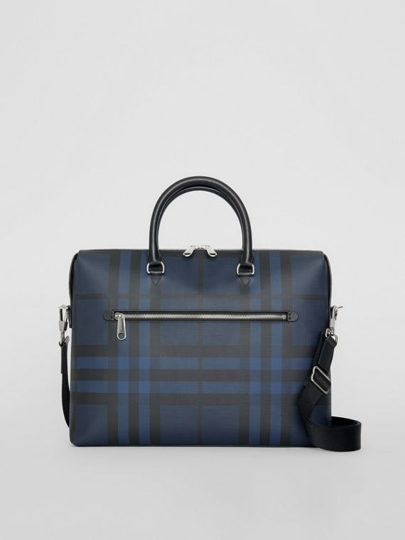 London Check and Leather Briefcase in Navy/black