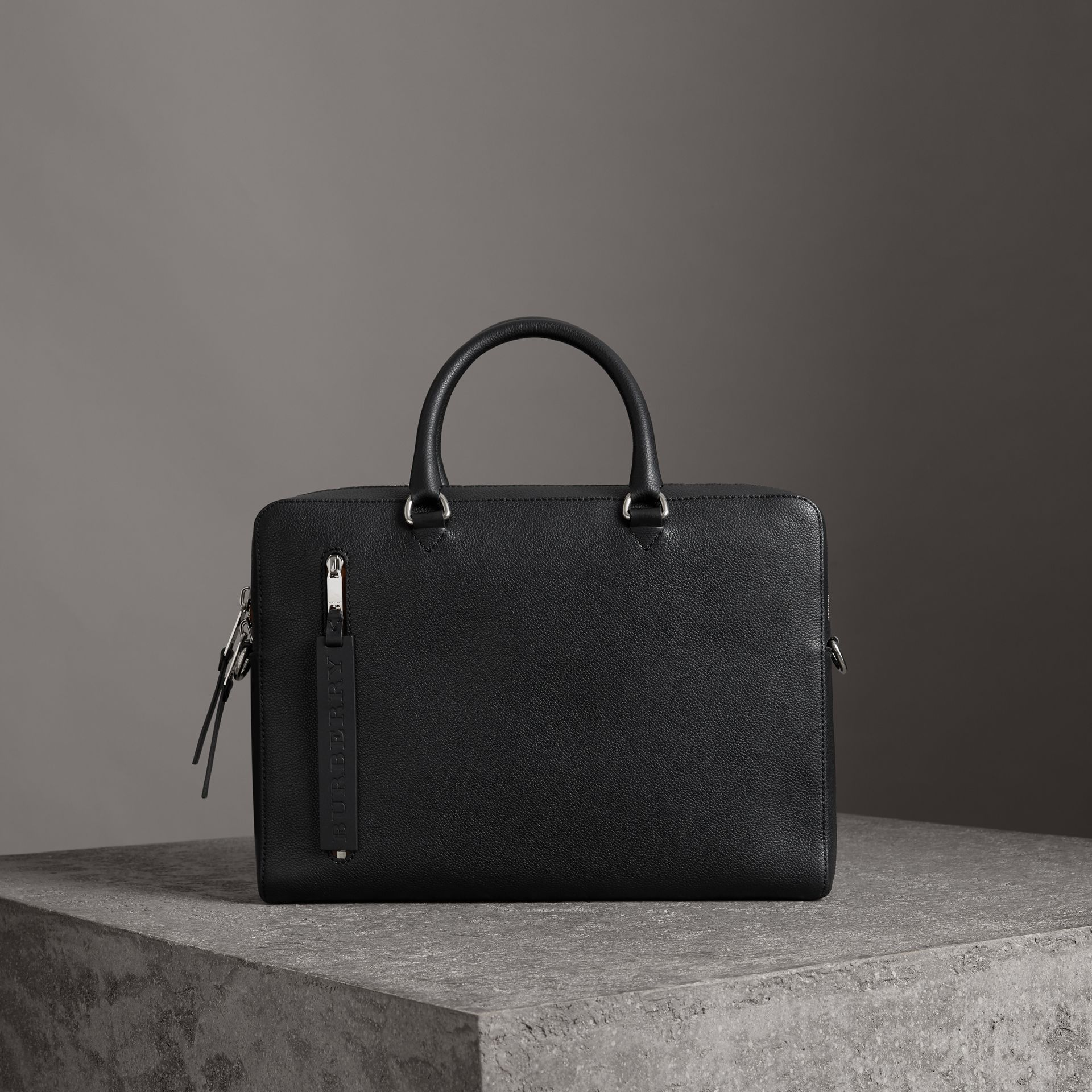 Attaché-case en cuir grainé (Noir) - Homme | Burberry Canada - photo de la galerie 0