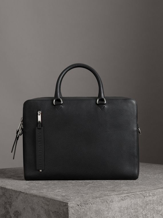 Attaché-case en cuir grainé (Noir)