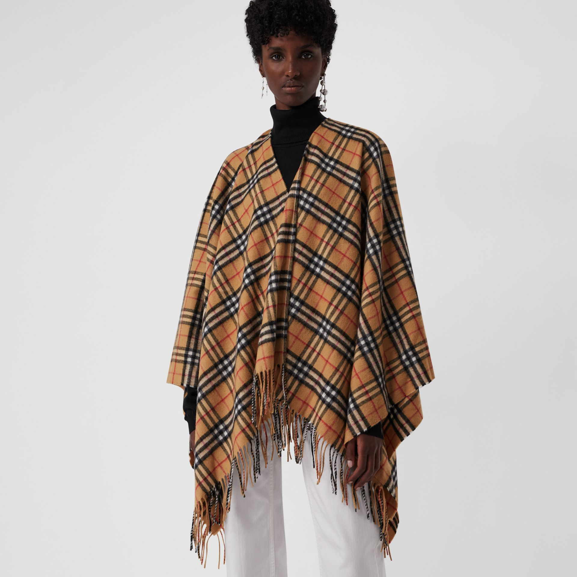Vintage Check Cashmere Wool Poncho in Antique Yellow - Women | Burberry - gallery image 5