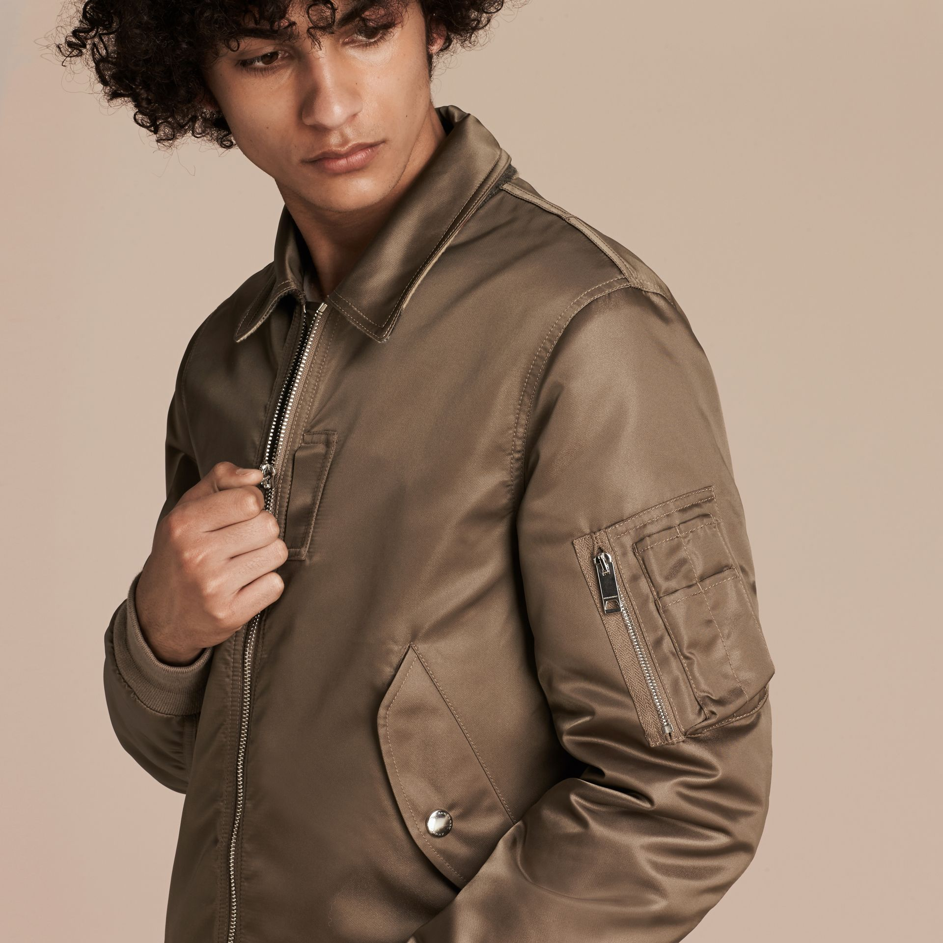 Satin Bomber Jacket with Check Undercollar in Dark Taupe - gallery image 5
