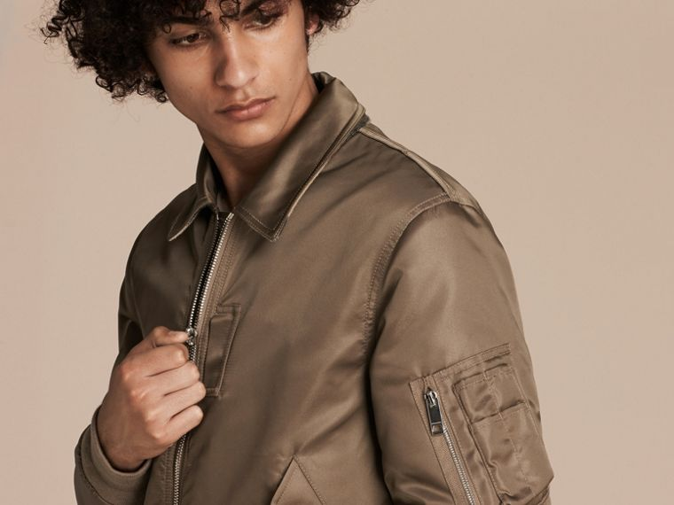 Satin Bomber Jacket with Check Undercollar in Dark Taupe - cell image 4