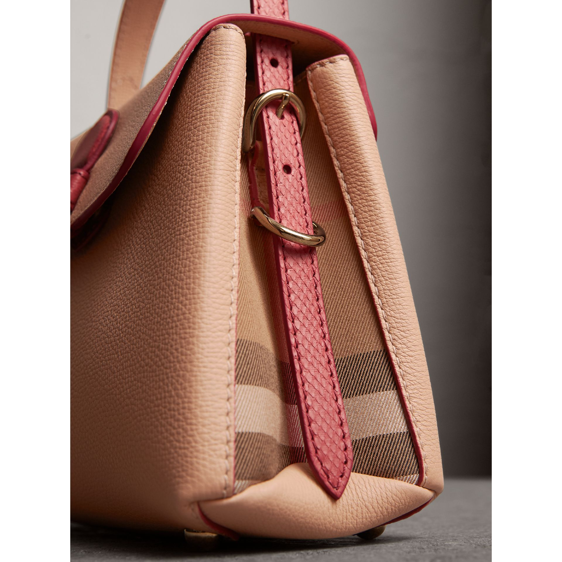 Small Two-tone Leather and House Check Tote in Pale Apricot - Women | Burberry - gallery image 1