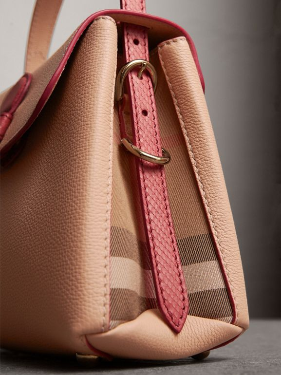 Small Two-tone Leather and House Check Tote in Pale Apricot - Women | Burberry - cell image 1