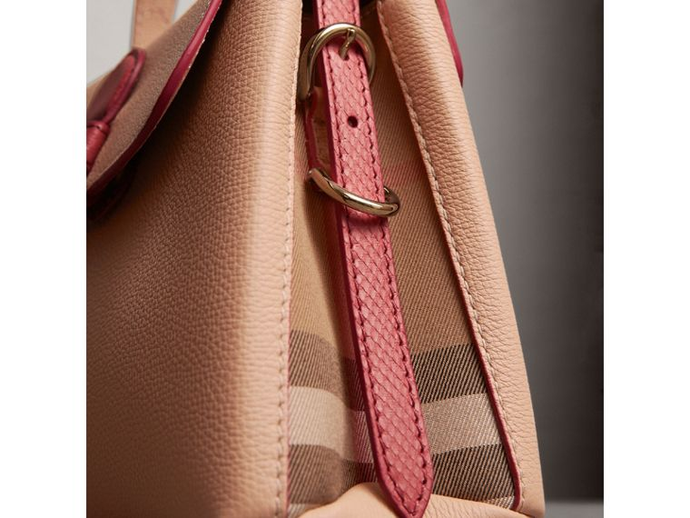 Small Two-tone Leather and House Check Tote in Pale Apricot - Women | Burberry Australia - cell image 1