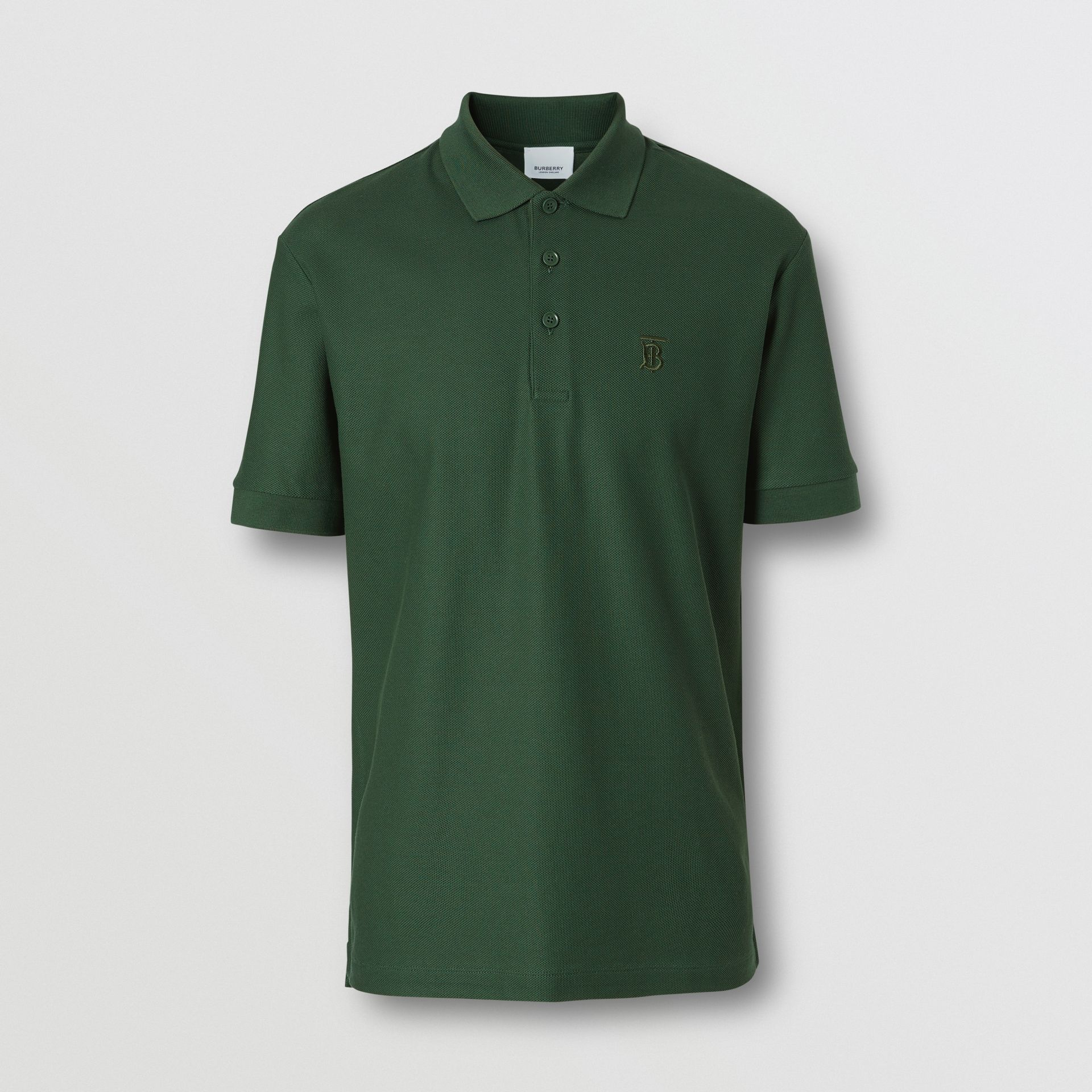Monogram Motif Cotton Piqué Polo Shirt in Dark Pine Green - Men | Burberry - gallery image 3