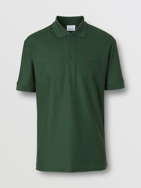Monogram Motif Cotton Piqué Polo Shirt in Dark Pine Green - Men | Burberry Hong Kong S.A.R - cell image 3