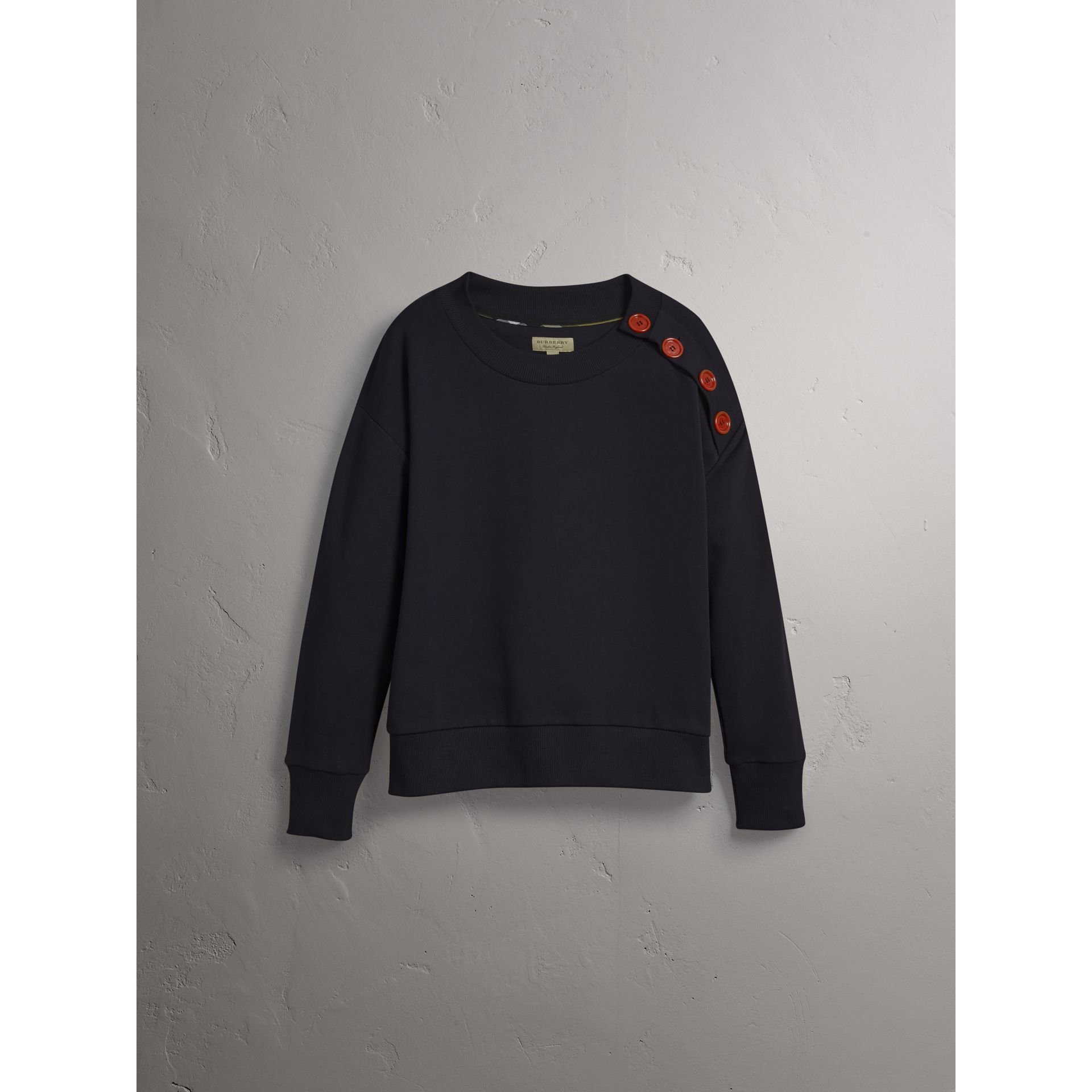 Resin Button Cotton Sweatshirt in Navy - Women | Burberry - gallery image 4