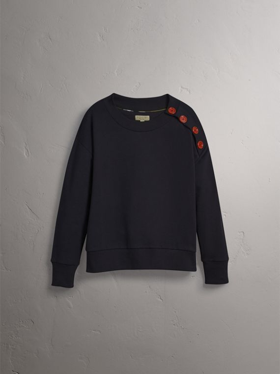 Resin Button Cotton Sweatshirt in Navy - Women | Burberry - cell image 3