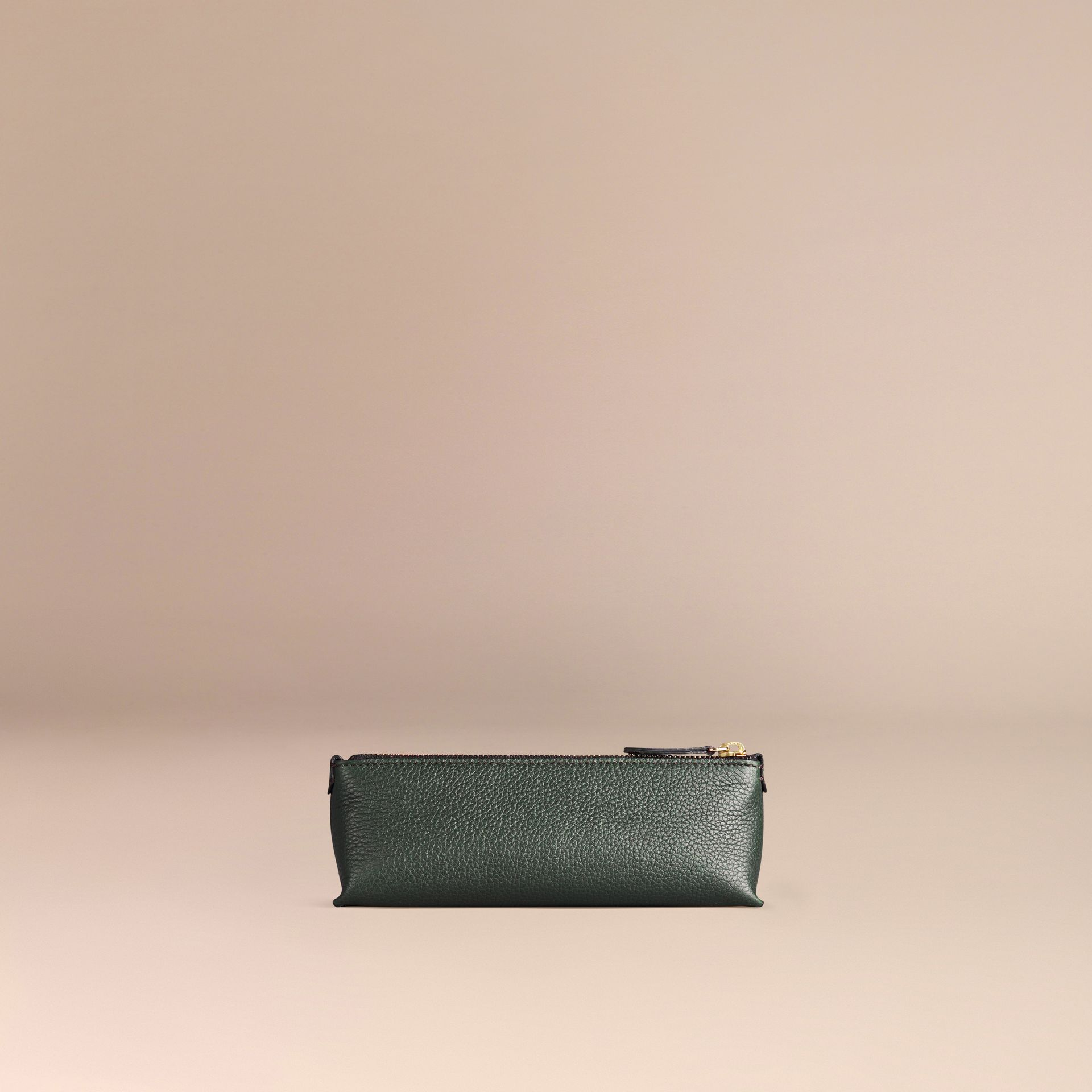 Dark forest green Small Grainy Leather Digital Accessory Pouch Dark Forest Green - gallery image 3