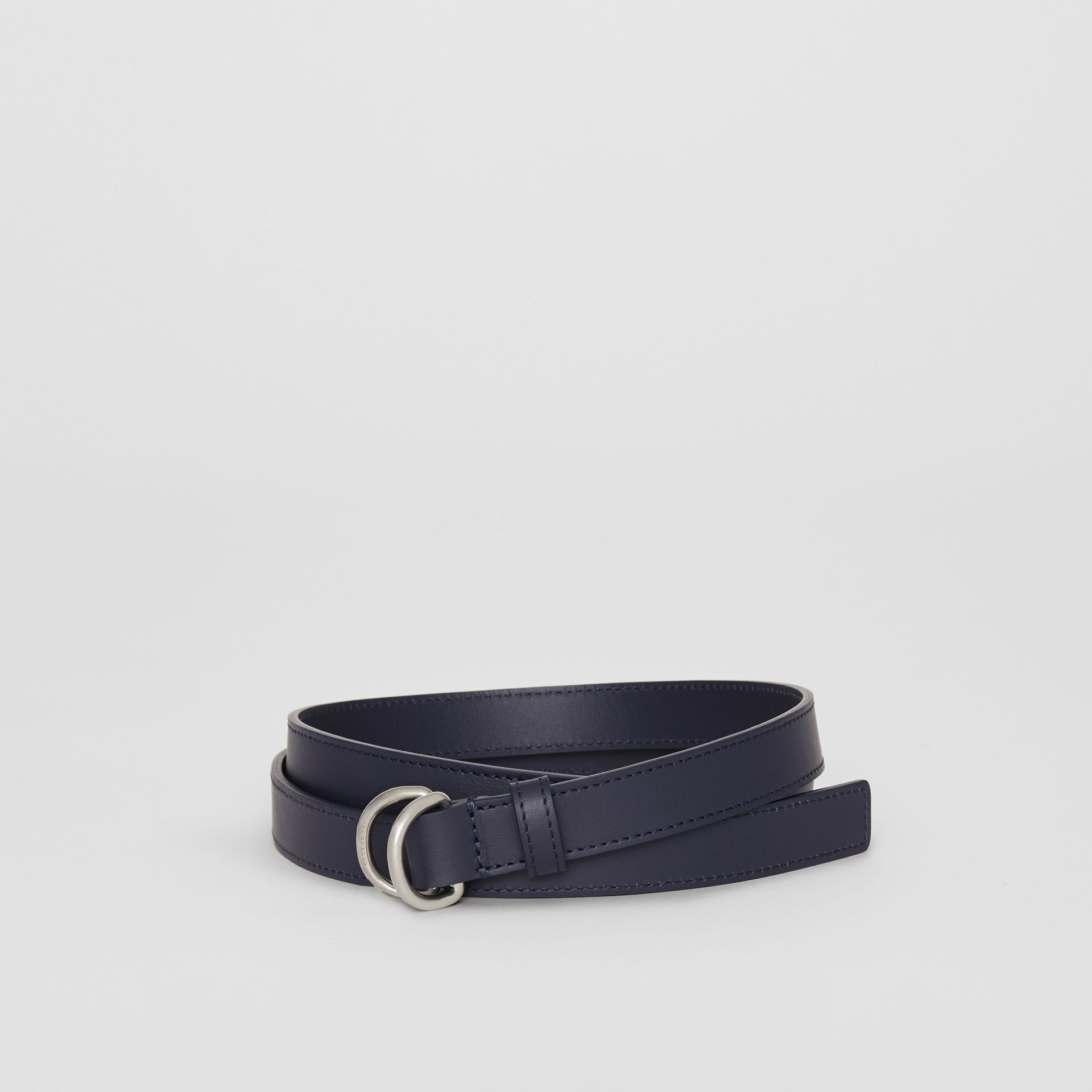 Slim Leather Double D-ring Belt in Regency Blue - Women | Burberry - gallery image 0