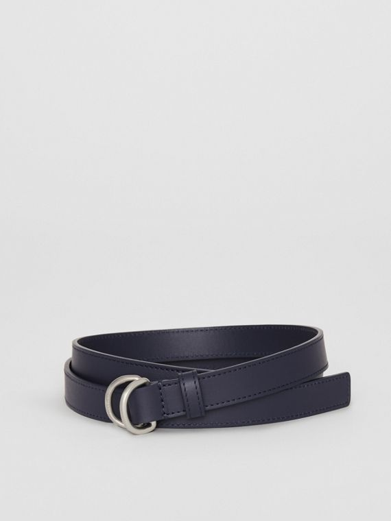 Slim Leather Double D-ring Belt in Regency Blue