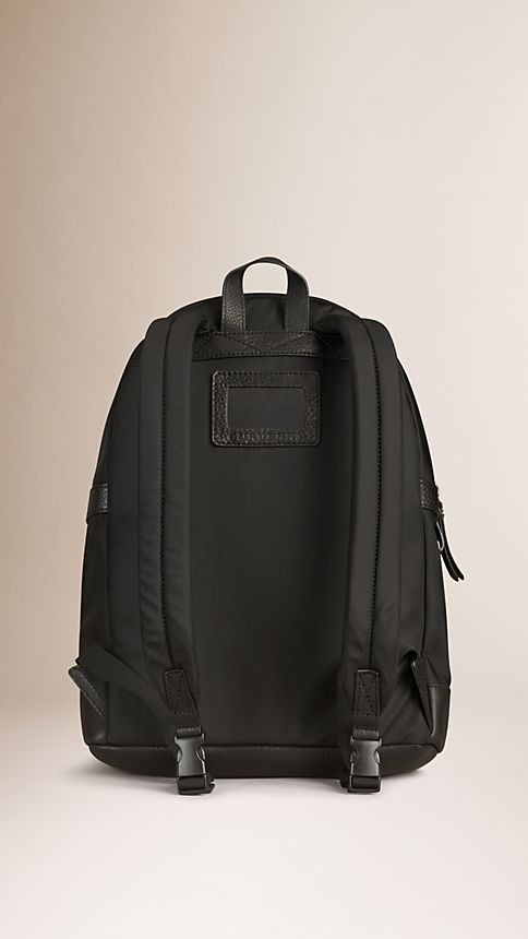 Black Leather Detail Nylon Backpack - Image 2
