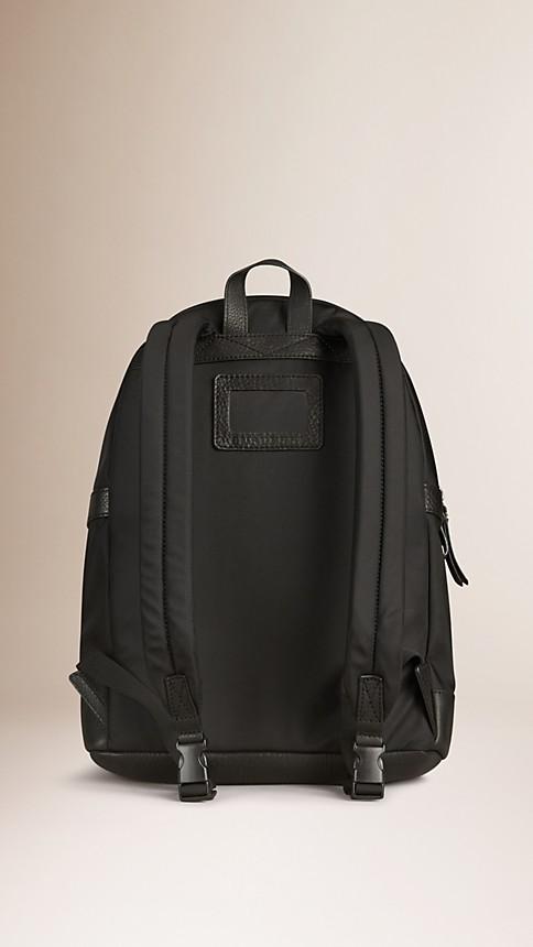 Black Leather Detail Nylon Backpack - Image 2