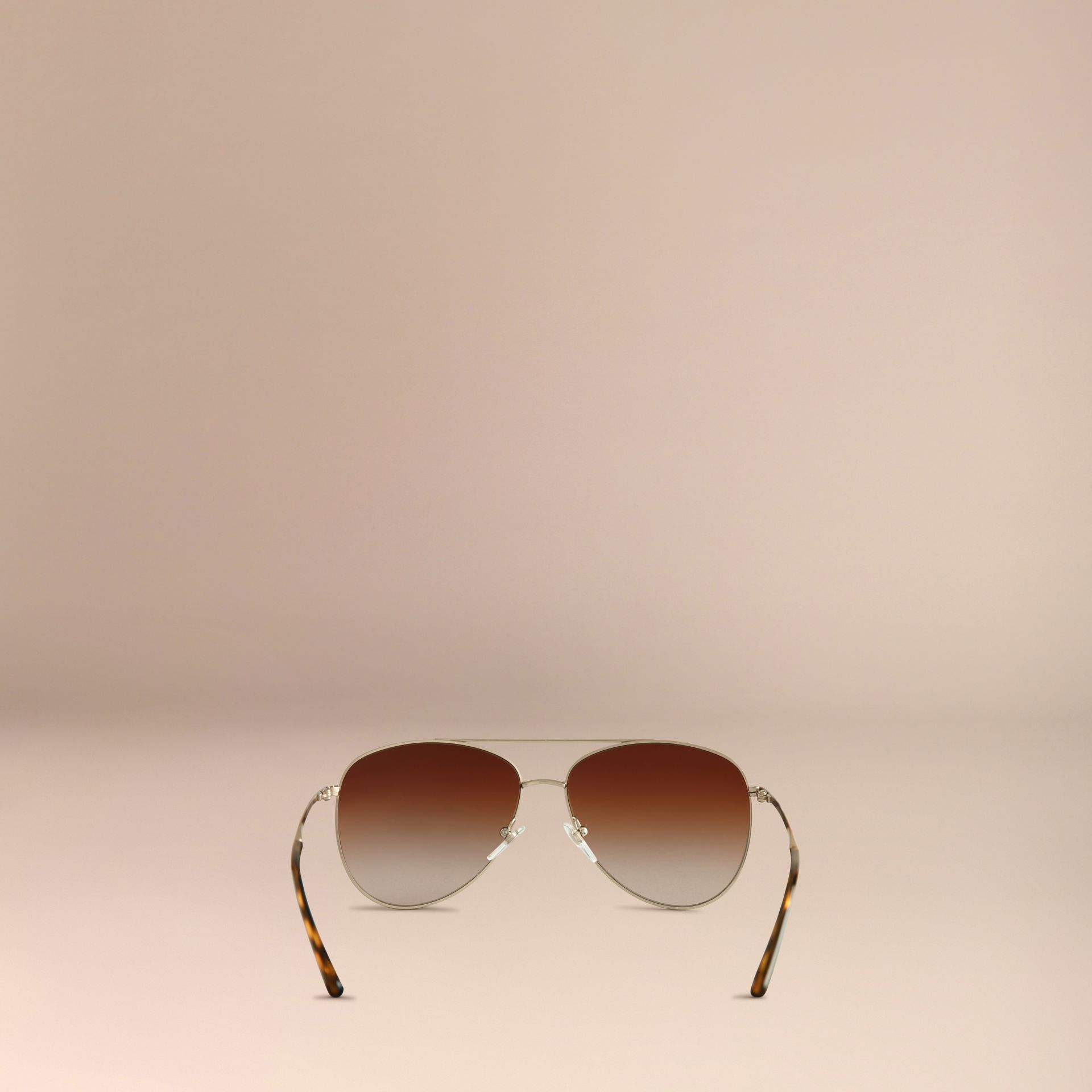 Pale gold Check Arm Aviator Sunglasses - gallery image 4