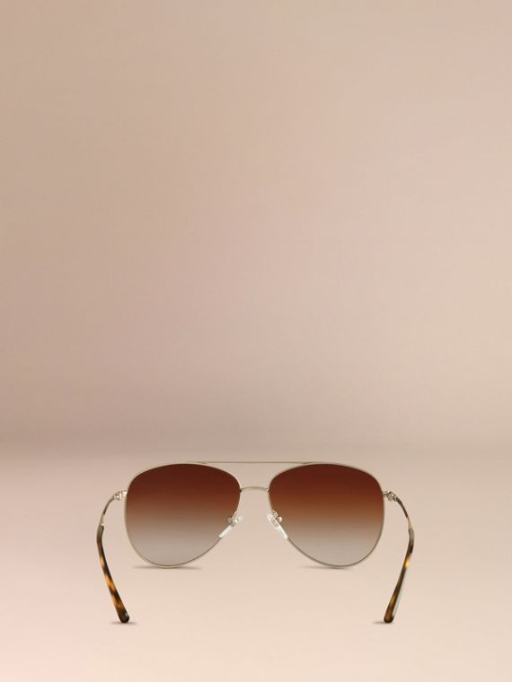 Pale gold Check Arm Pilot Sunglasses - cell image 3