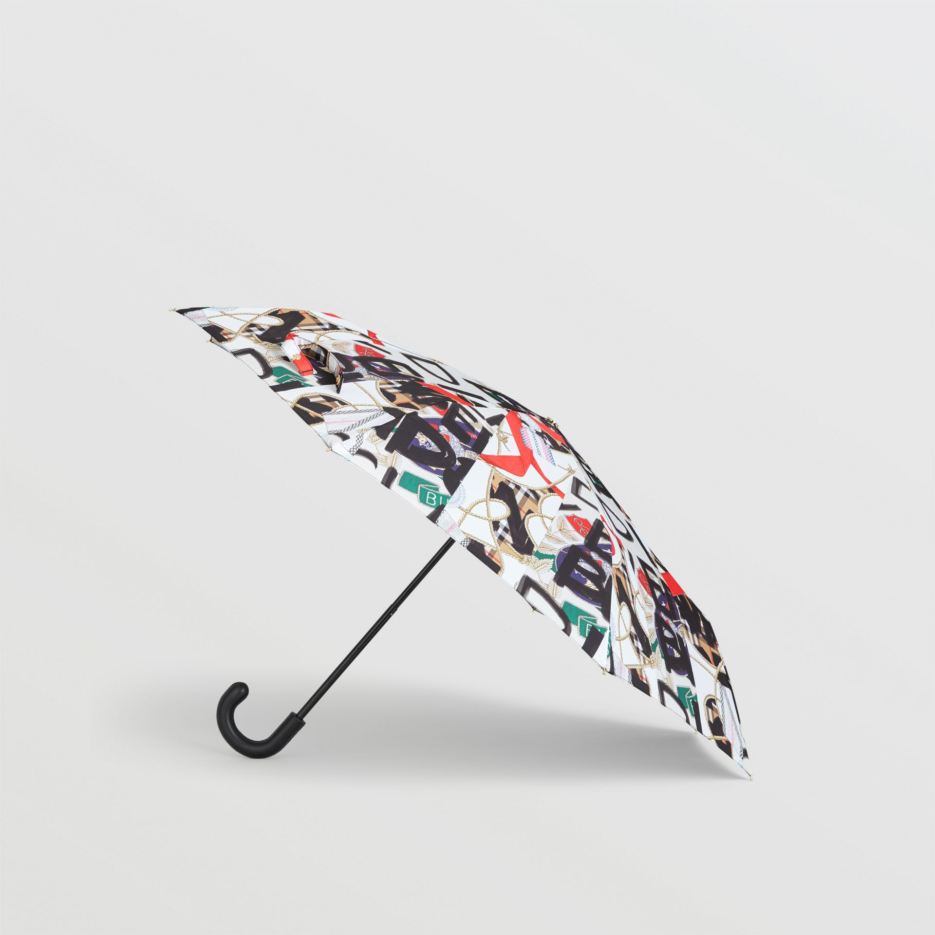 Graffiti Archive Scarf Print Folding Umbrella in Multicolour | Burberry Australia - gallery image 4