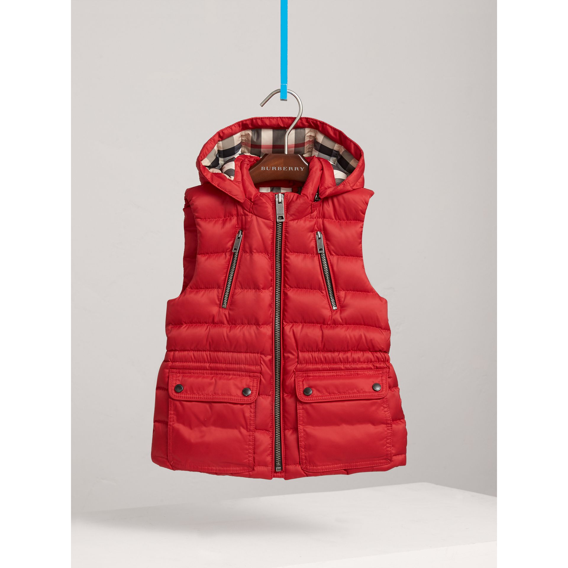 Detachable Hood Down-filled Gilet in Bright Cherry Red | Burberry United Kingdom - gallery image 0