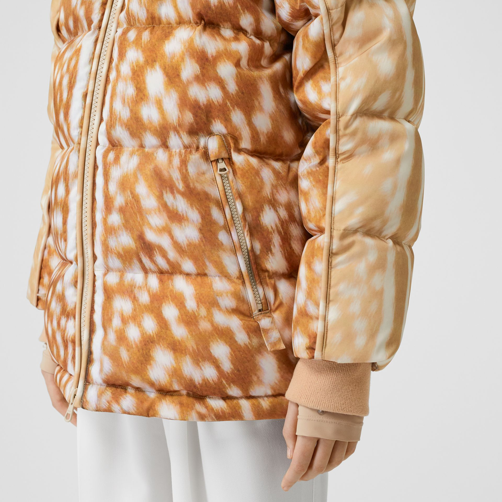 Deer Print ECONYL® Puffer Jacket in Honey - Women | Burberry - gallery image 4
