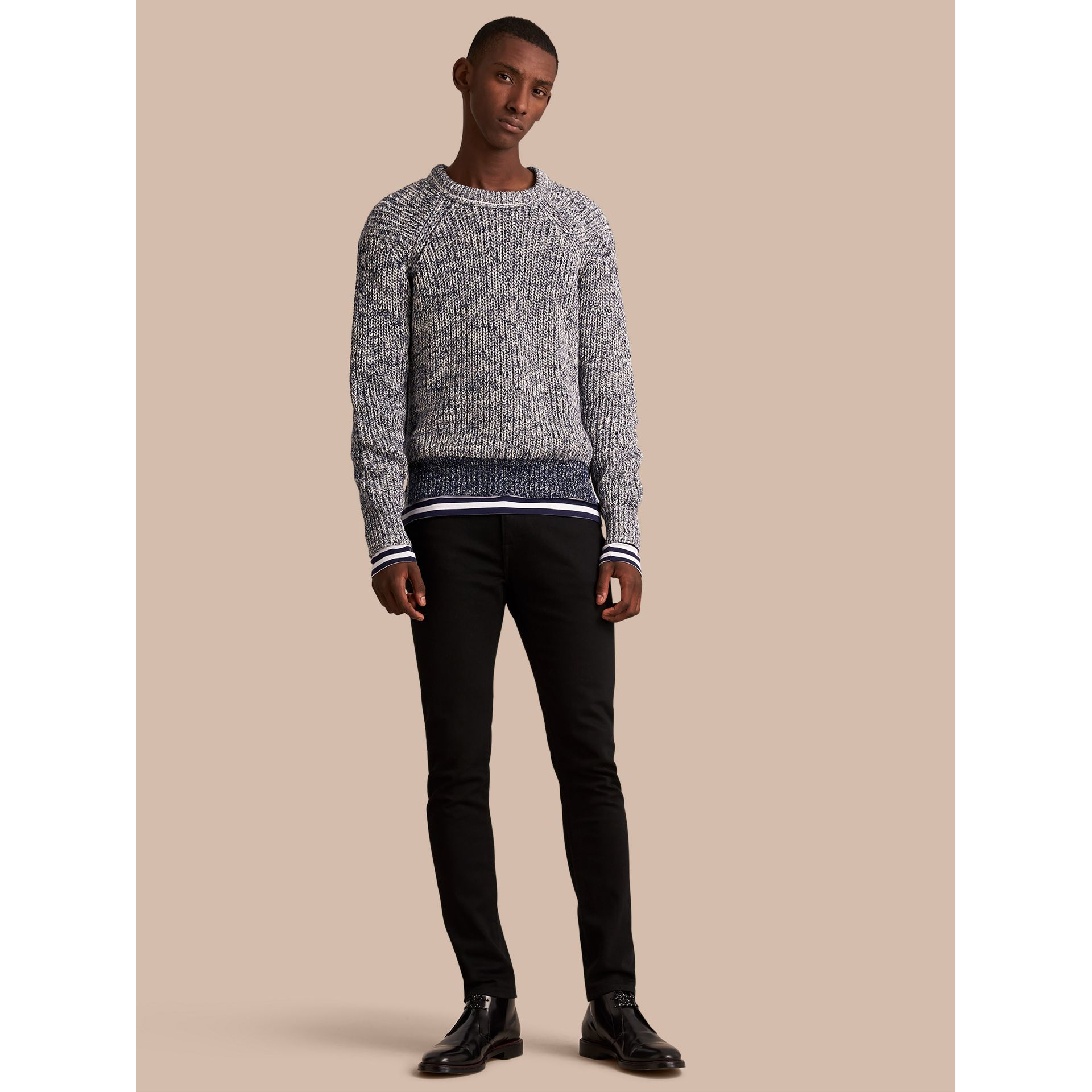 Chunky Knit Mouline Cotton Sweater in Bright Navy - Men | Burberry - gallery image 1
