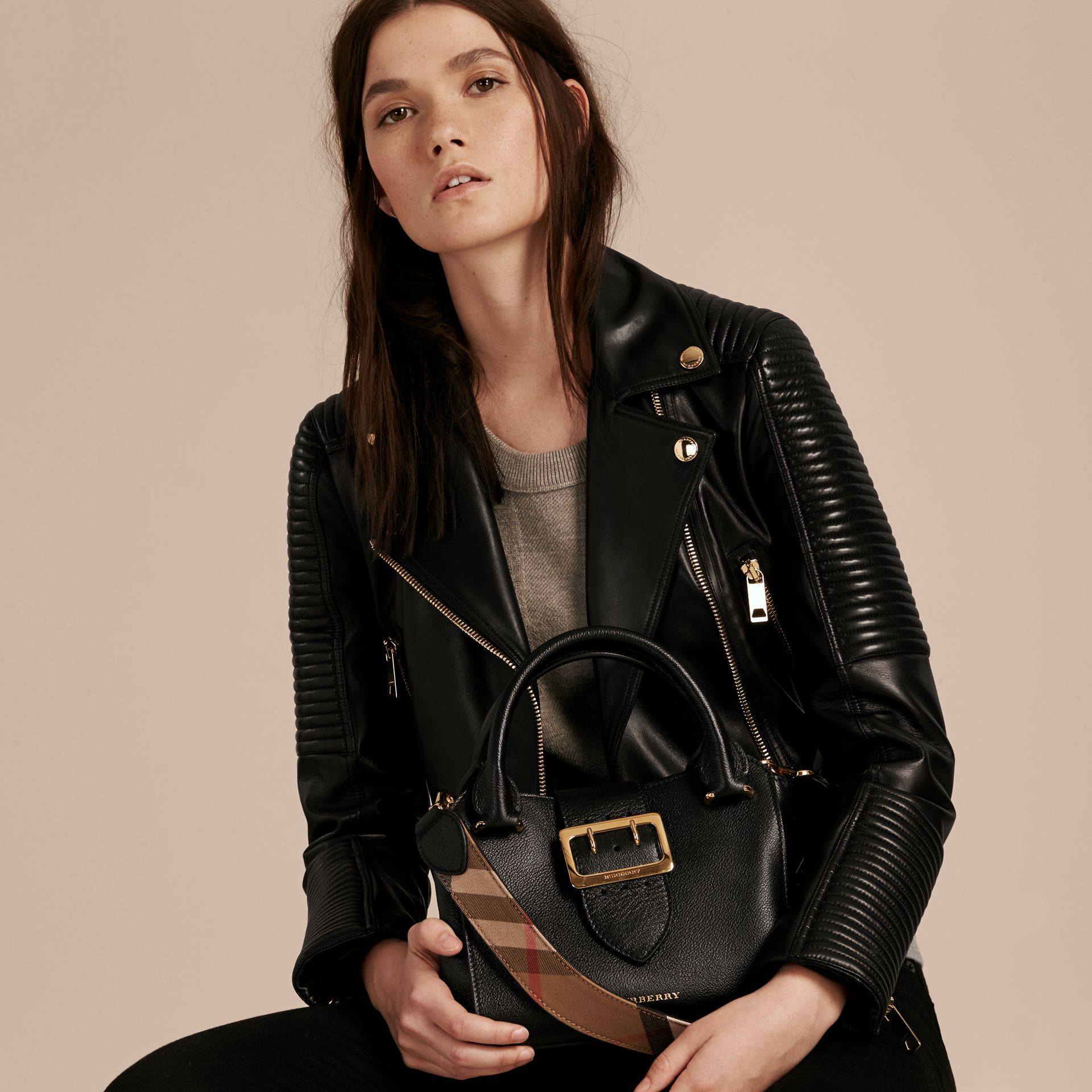The Small Buckle Tote in Grainy Leather Black - gallery image 4
