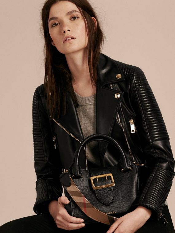 The Small Buckle Tote in Grainy Leather Black - cell image 3