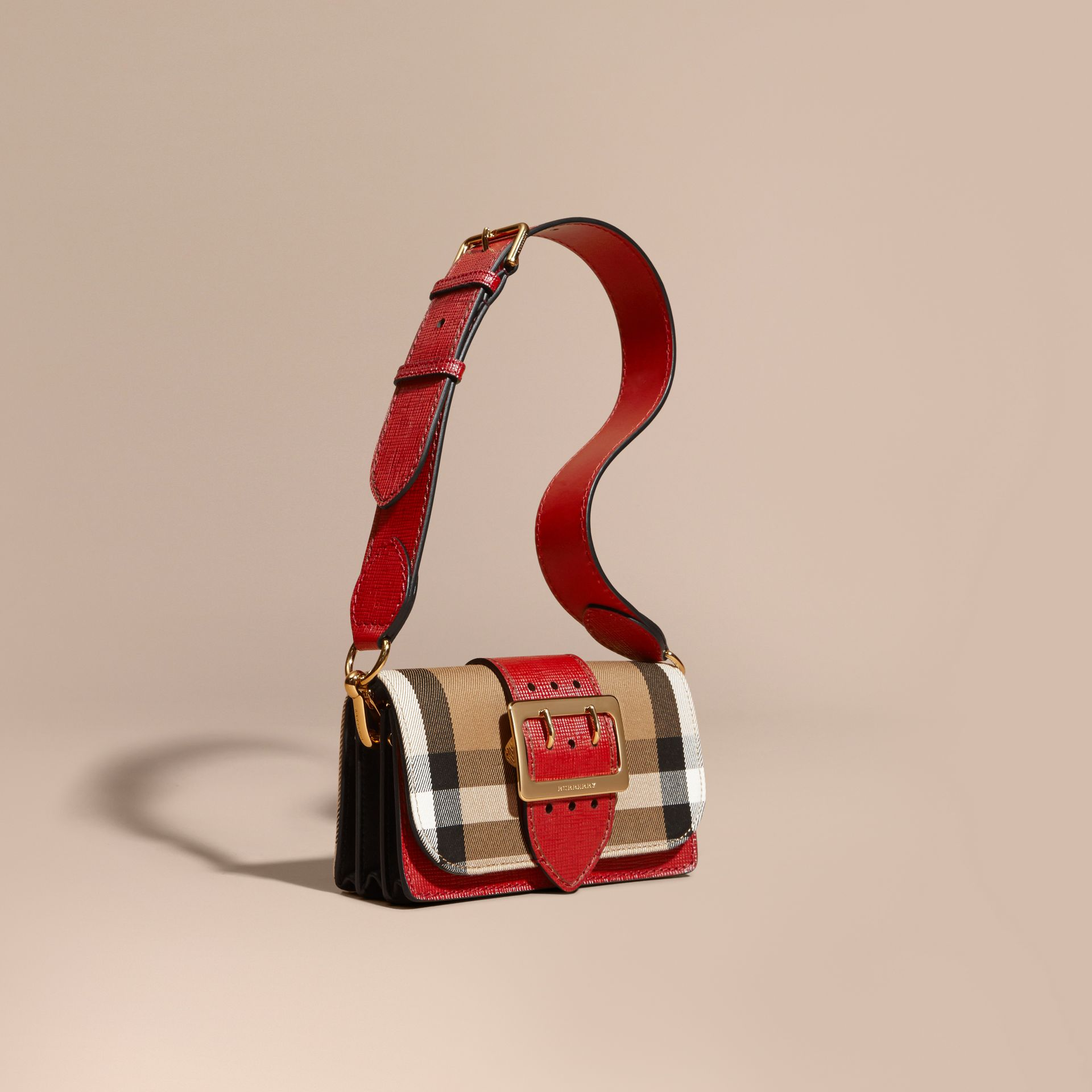 The Small Buckle Bag in House Check and Leather in Military Red/military Red - gallery image 1