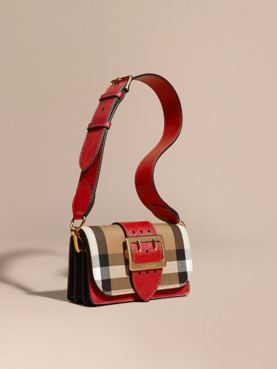 The Small Buckle Bag in House Check and Leather Military Red/military Red