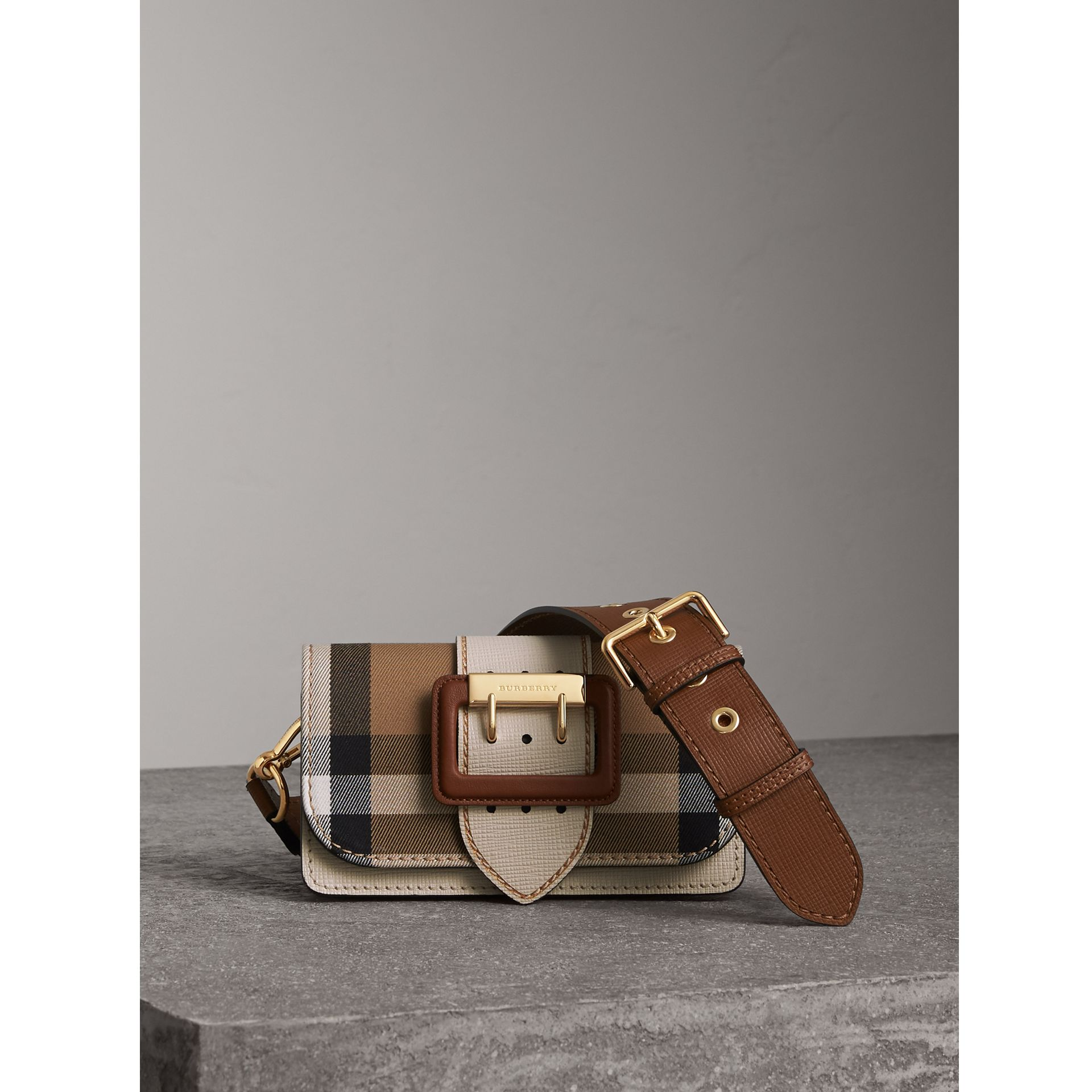 The Small Buckle Bag in House Check and Leather in Limestone - Women | Burberry Australia - gallery image 1