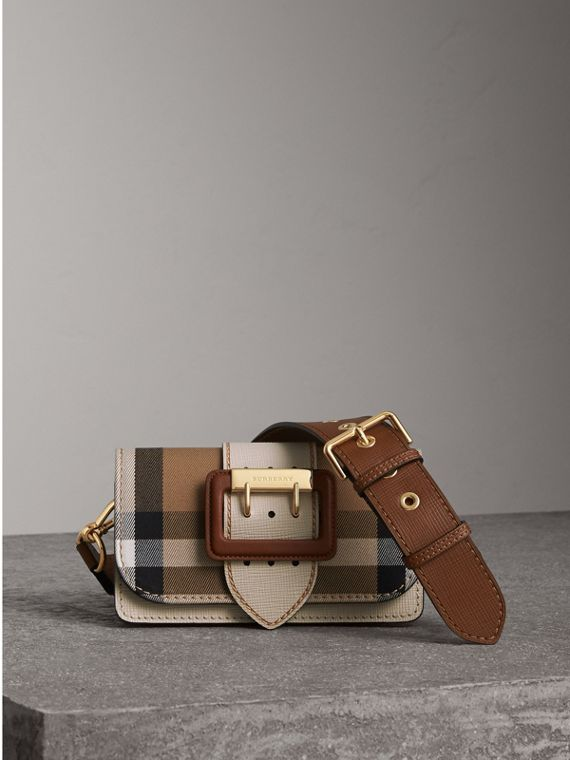 The Small Buckle Bag in House Check and Leather in Limestone