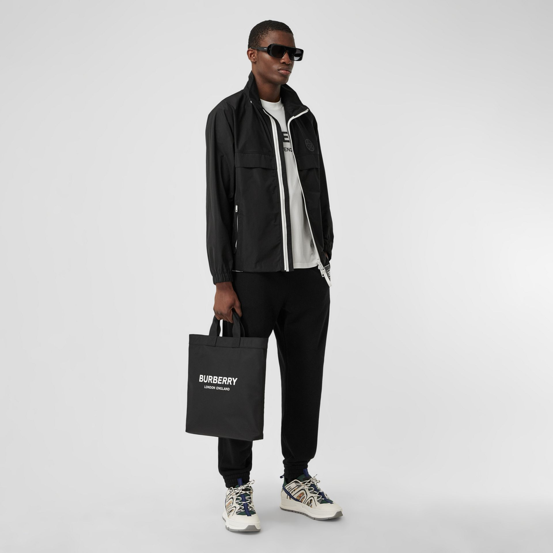 Logo Print ECONYL® Tote in Black - Men | Burberry - gallery image 7