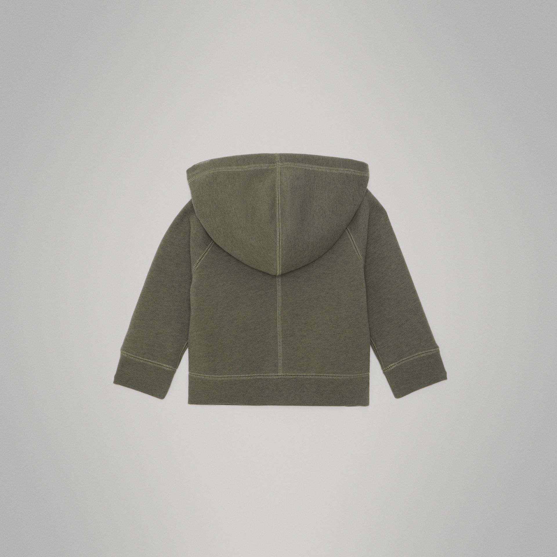 Cotton Jersey Hooded Top in Olive Melange - Children | Burberry - gallery image 3