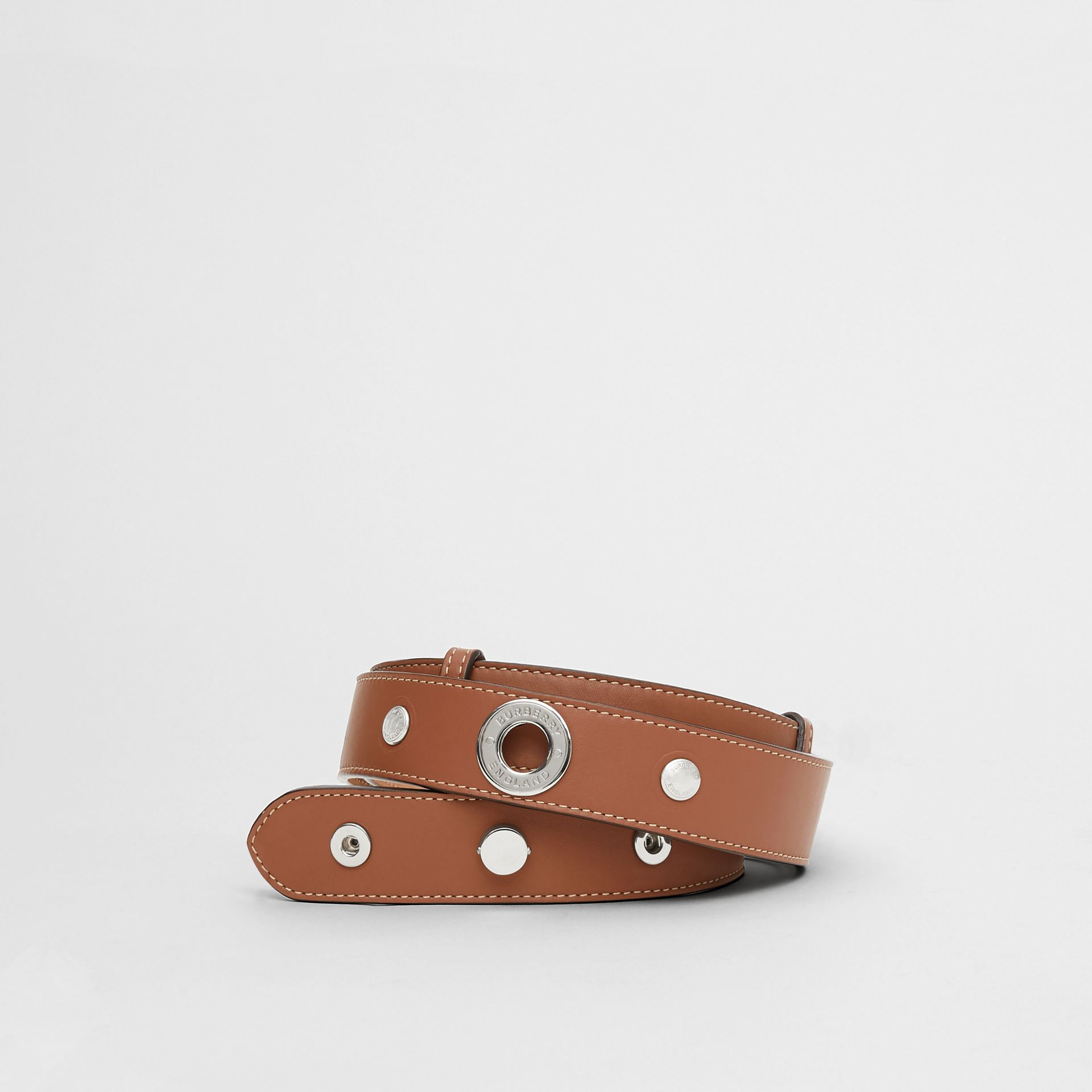 Triple Stud Leather Belt in Malt Brown - Women | Burberry Singapore - gallery image 0
