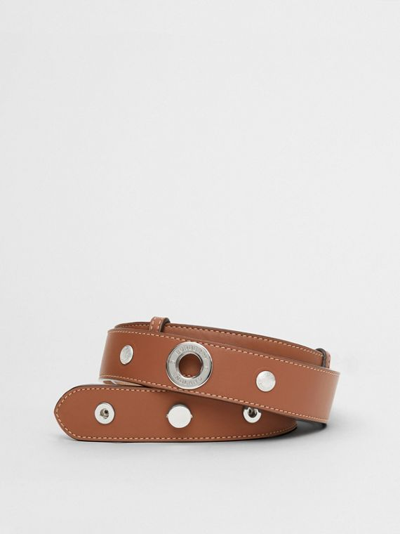 Triple Stud Leather Belt in Malt Brown