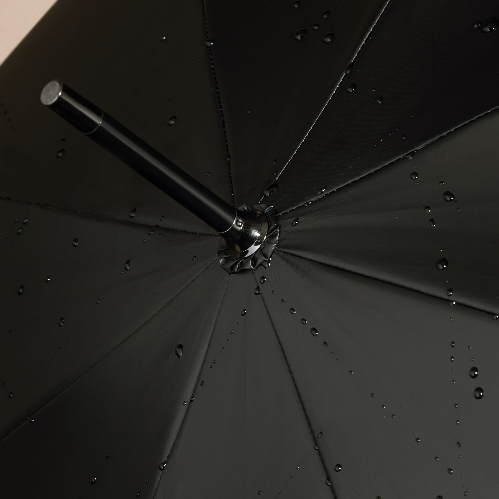 Black camel check Oversize-Check Lined Walking Umbrella - gallery image 3