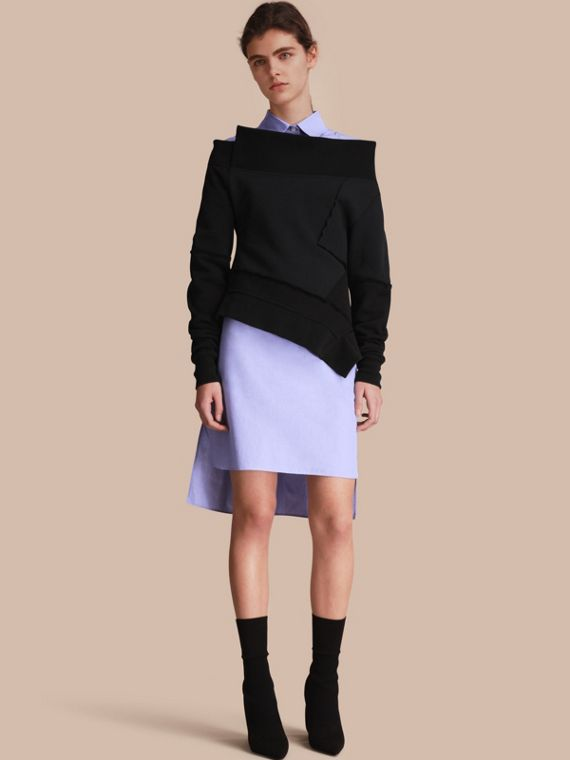 Seam Detail Brushed-back Jersey Sweatshirt with Sculptured Sleeves