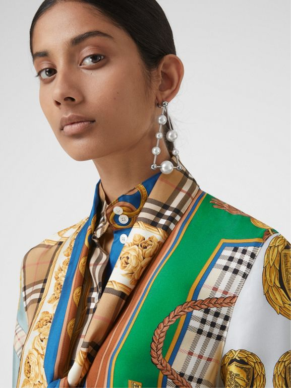 Archive Scarf Print Silk Tie-neck Shirt in Multicolour - Women | Burberry - cell image 1