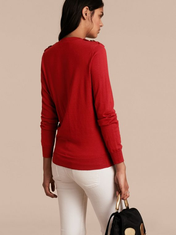 Buckle Detail Merino Wool Sweater in Parade Red - cell image 2