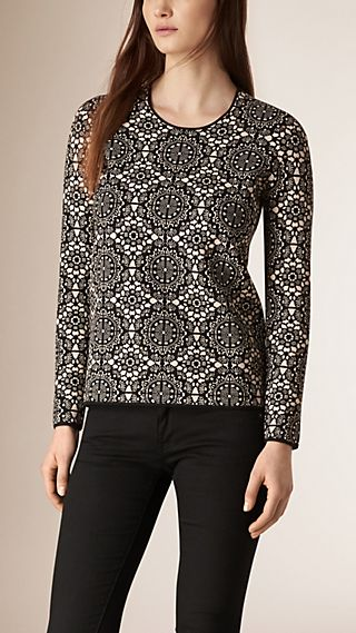 Lace-pattern Silk Blend Jacquard Top