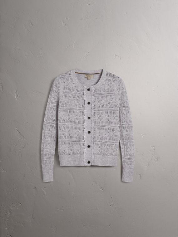 Lace Trim Pointelle Wool Cashmere Cardigan - cell image 2