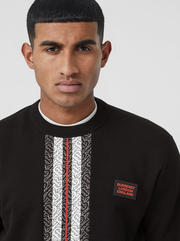 Monogram Stripe Print Cotton Sweatshirt in Black - Men | Burberry - cell image 1