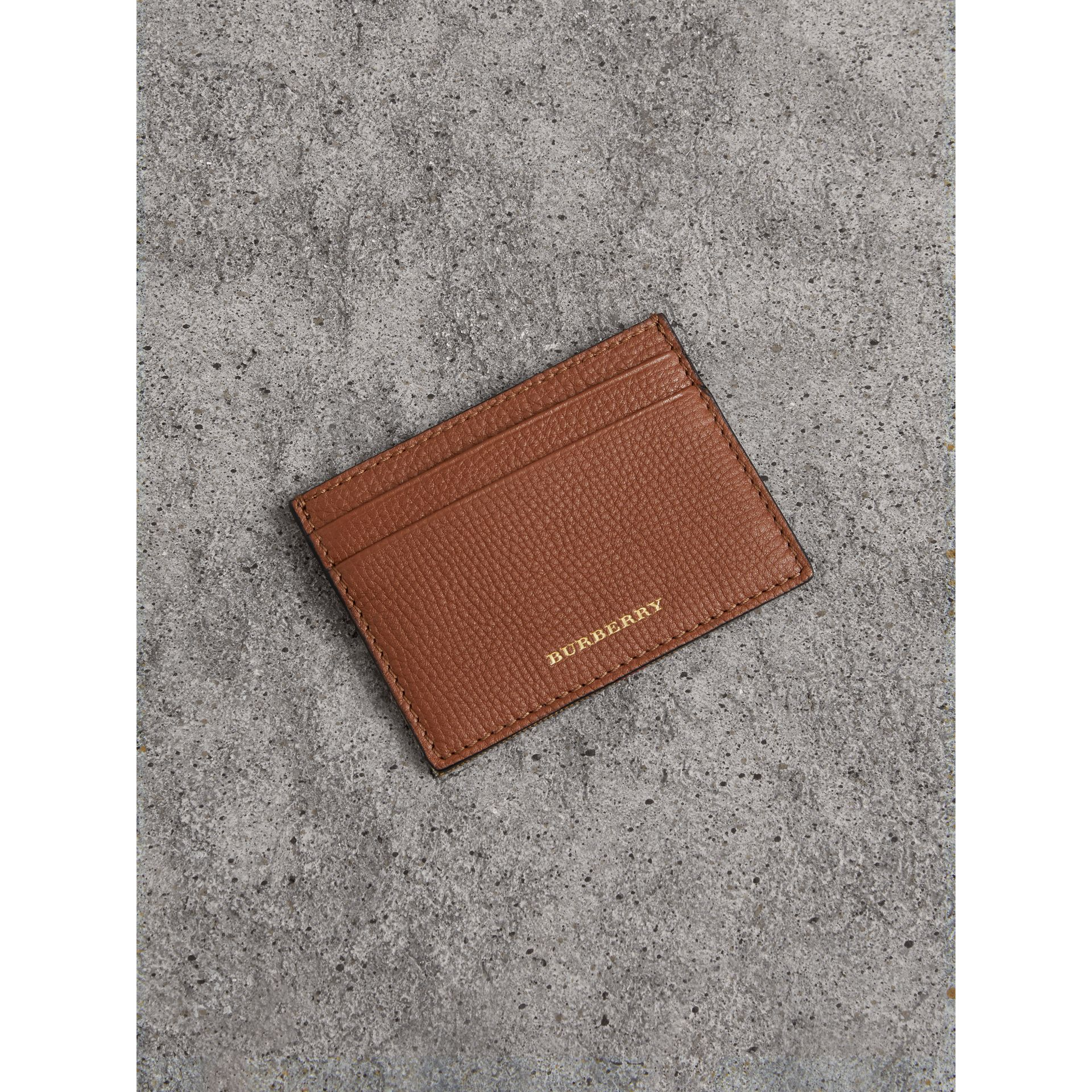 House Check and Grainy Leather Card Case in Chestnut Brown - Men | Burberry Australia - gallery image 1